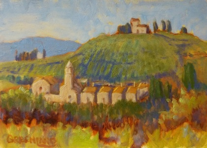 SOLD Among the Olives 5x7, plein air
