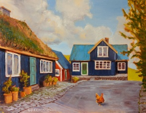 Chicken Crossing, Faroe Islands 11x14