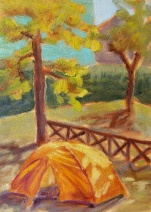 In tents Siena 7x5, plein air