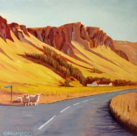Sheep Crossing, Iceland 12x12