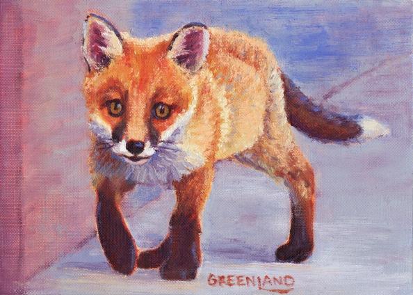 Fox Kit Trot, oil on paper, 8x10