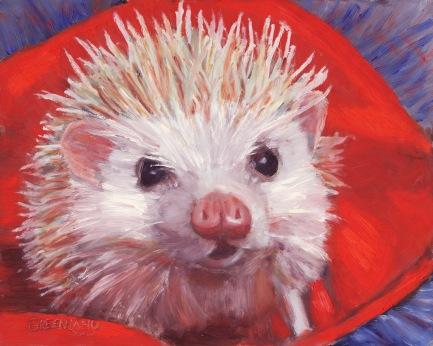 Hedgehog on Red, oil on masonite, 8x10