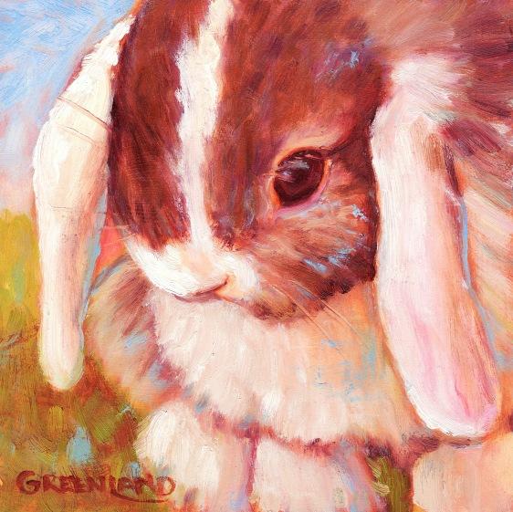 MiniLop Bunny, oil on gatorboard, 6x6