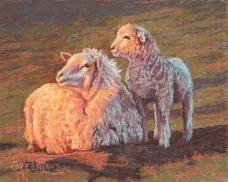 Ewe and Lamb Evening, pastel on masonite, 8x10