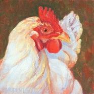 White Hen Portrait, oil on deep edge canvas, 6x6